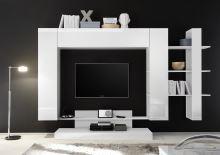 Kompletní obývací stěna Nice-KOMP1 LBI LBI bílý lesklý lak