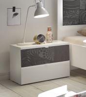 Noční stolek Xaos-NS bílý mat, jedna zásuvka dekor šedý