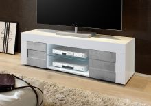 TV skříňka Easy-TV LBI BET bílý lesklý lak v kombinaci s betonem